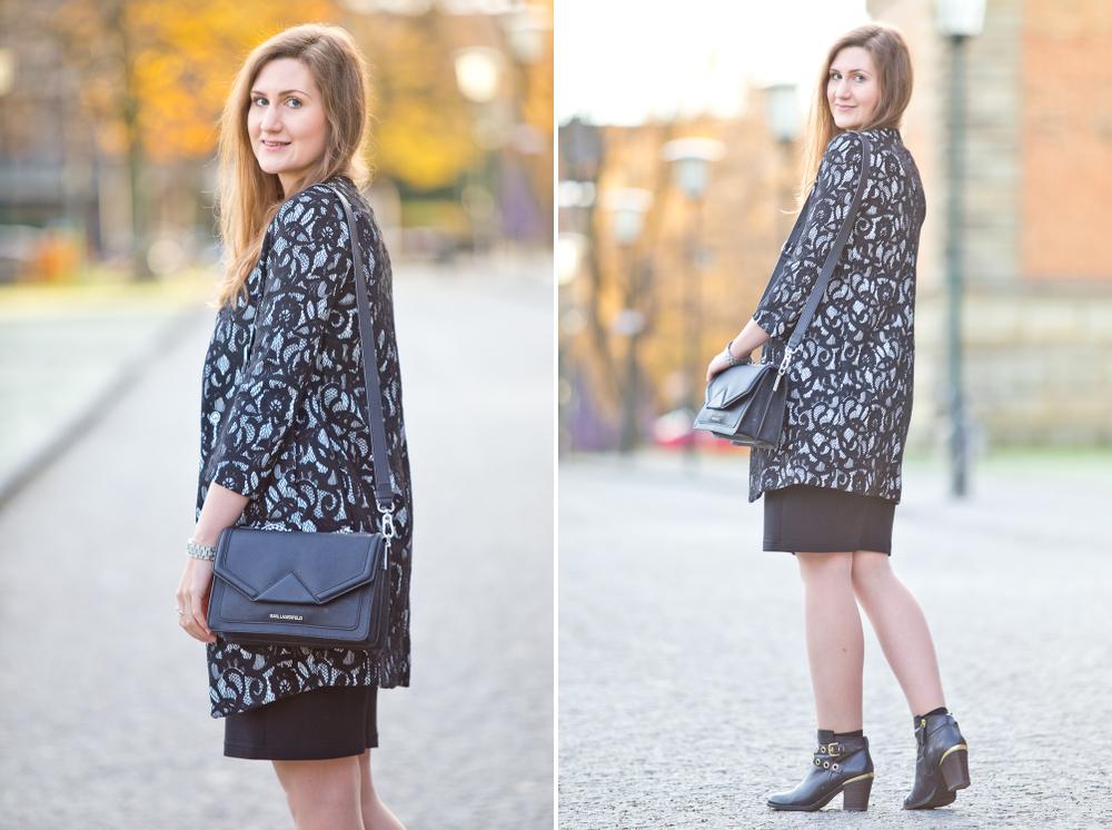 Karl Lagerfeld Klassik Tasche Bag Sisley Spitzenmantel Lace Coat Fashion Blog Munich München Modeblog