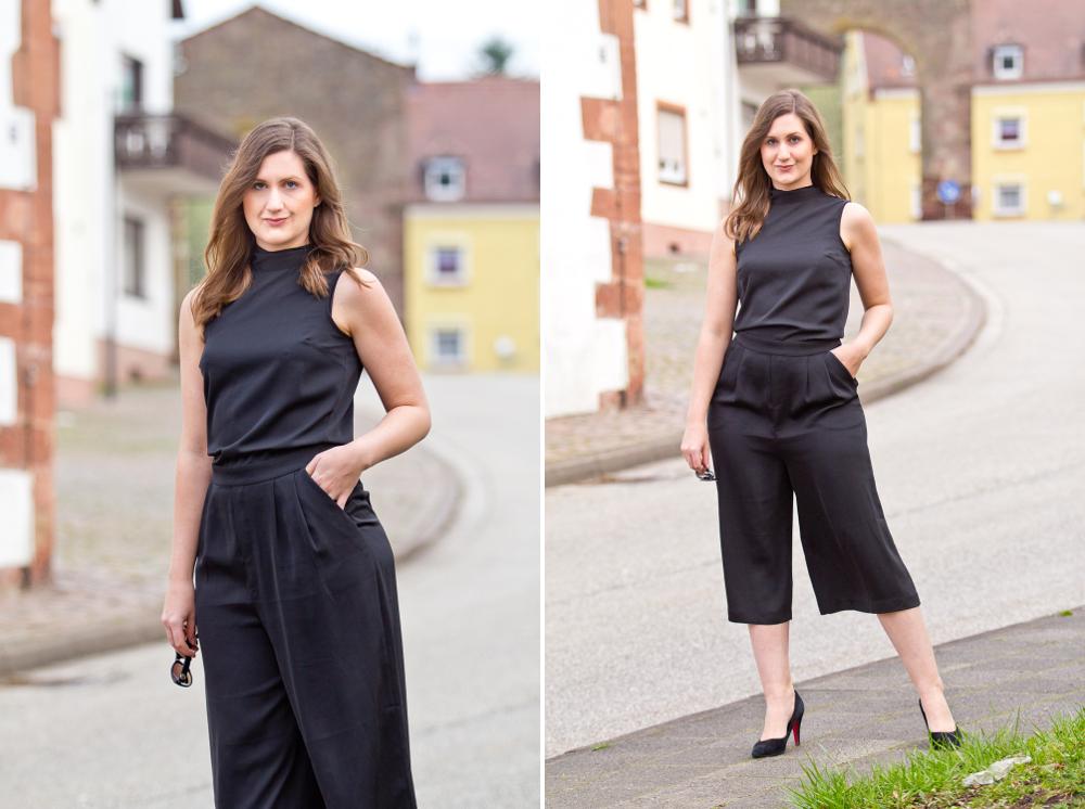 Outfit schwarzer Overall Einteiler Modeblog Fashion Blog München