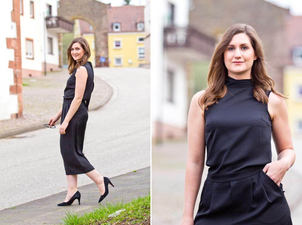 Outfit schwarzer Jumpsuit Einteiler Modeblog Fashion Blog München